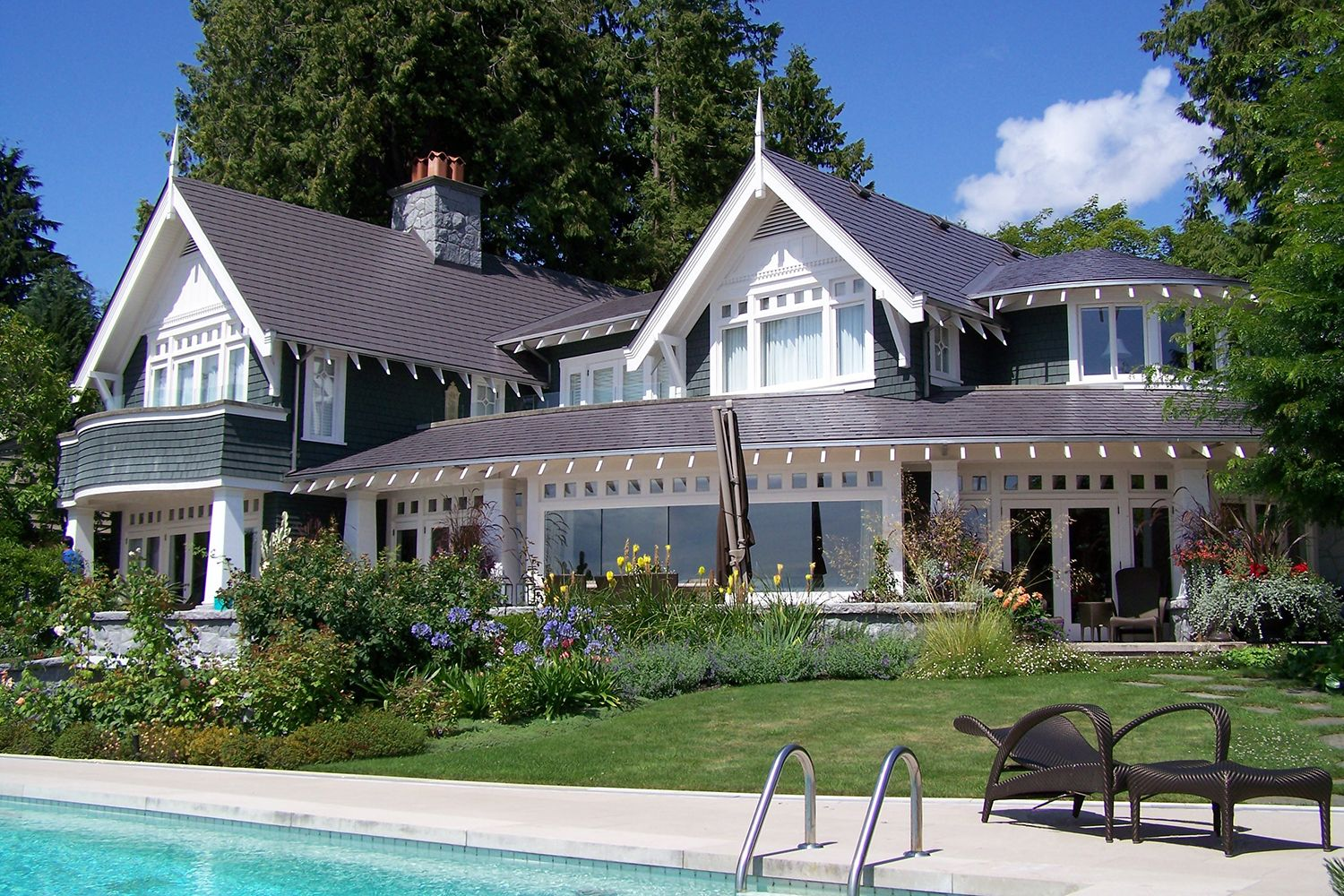 weathered metal slate roof cape cod pool vancouver